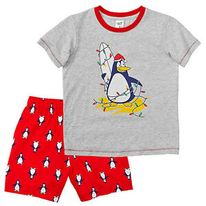 NWT-Target-Boys-Penguin-Christmas-Pyjamas-Shorts-Top-T-Shirt-Size-6-or-Size-7