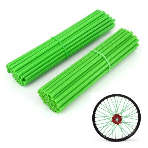 """New 72 Pcs Green Spoke Covers Guards For 19/""""-21/"""" Rims Kawasaki Dirt Pit Bike ATV"""