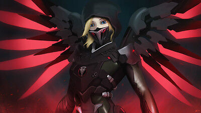 Video Game Overwatch Mercy Silk Poster Wallpaper 24 X 13 inch