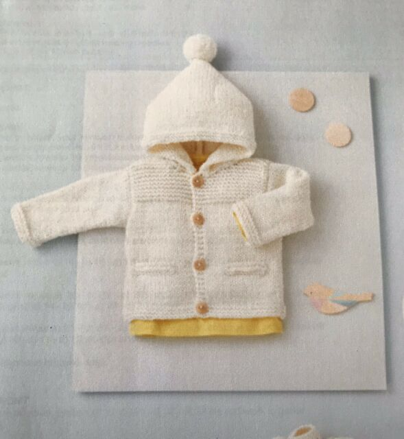 Modern Baby Set Winter Hoodie Knitting Pattern 8 Ply Easy Knit  0 - 12 Months