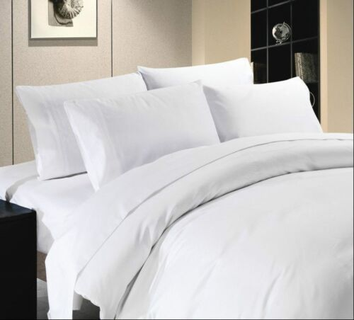 SUPER FINE COLLECTION  SHEET SET WHITE SOLID 1000TC 100/%EGYPTIAN COTTON ALL SIZE