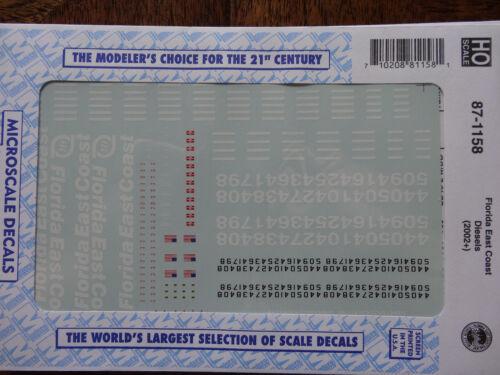 Microscale Decal HO  #87-1158 FEC Diesels 2002+