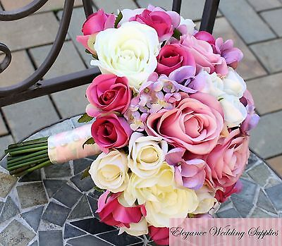 Pink Rose Bridal Bouquet - Artificial Wedding Bouquet for Bride with Buttonhole