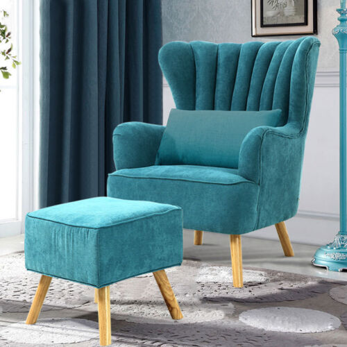 New Upholstered Wingback Design Armchair Seat Footrest Coffee Shop Accent Chairs