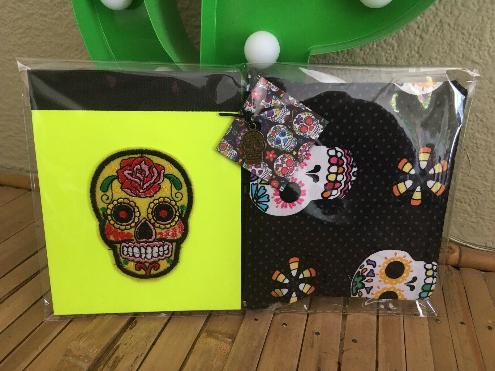 Sugar Skull Day Of The Dead Cosmetic Charm Bag +Yellow Neon Notebook 2pc Set