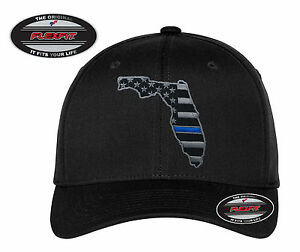 NEW FLORIDA Thin Blue Line Flag FlexFit   5001 Black Hat - Free ... 145b6e61c27d