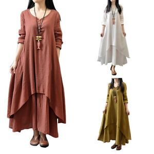 b382e3667058 UK Womens Peasant Ethnic Boho Cotton Linen Long Sleeve Maxi Dress ...
