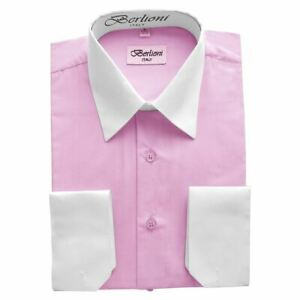 NEW-BERLIONI-ITALY-TWO-TONE-MEN-039-S-DRESS-SHIRT-FRENCH-CONVERTIBLE-CUFF-PINK