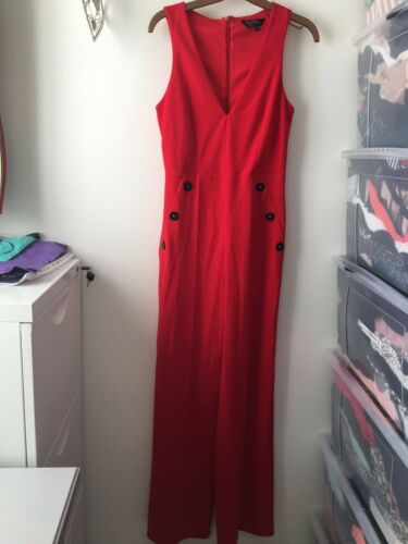Miss Selfridge Bnwot Button Red 8 Taglia Ladies Jumpsuit 547qwv