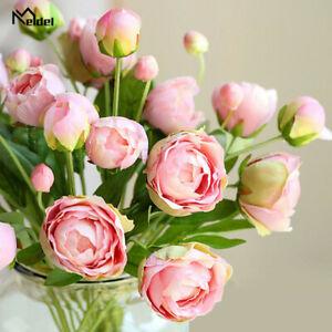 4-cabezas-peonias-Flores-Artificiales-Ramo-de-rosas-rosa-de-seda-Hogar-Decoracion-para-Boda