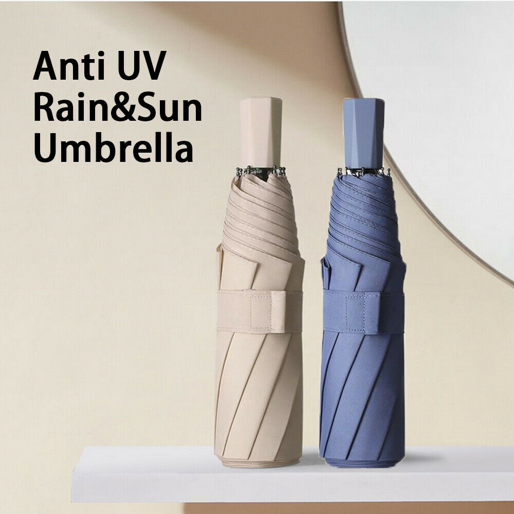 8 Ribs Anti UV Windproof Light Foldable Portable Sun Rain Umbrella for Women Men
