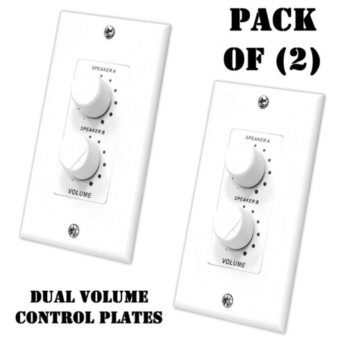 Pack of Pyle PVCD15 In-Wall Two Speaker Dual Knob Independent Volume Control 2