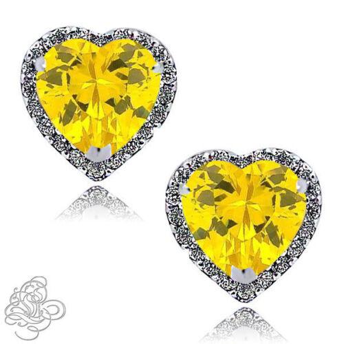 1.89 CT Halo cœur Canary /& Blanc Saphir Argent Sterling 925 Boucles D/'oreilles Clou