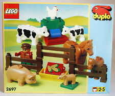 VERY RARE VINTAGE 1996 LEGO DUPLO 2697 FARM ANIMAL SET COWS PIG HORSE NEW MISB !