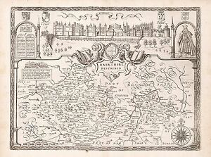 1676 paper or canvas Old Vintage Sussex England decorative map Speed ca
