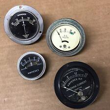 Lot Of 4 Vintage Volt Ampers Antenna Current Gauges Meters Weston Usg Shire