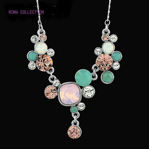 Genuine-Swarovski-Crystal-Element-Jewellery-Silver-Pink-Blue-Necklace-Pendant
