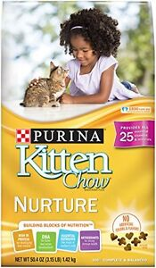 Purina Kitten Chow Dry Kitten Food, Nurture, 3.15 Pound Bag, Pack of 1
