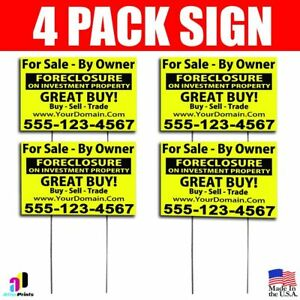 4x For Sale By Owner Signs Your Phone Number And Website Real Estate Marketing Ebay