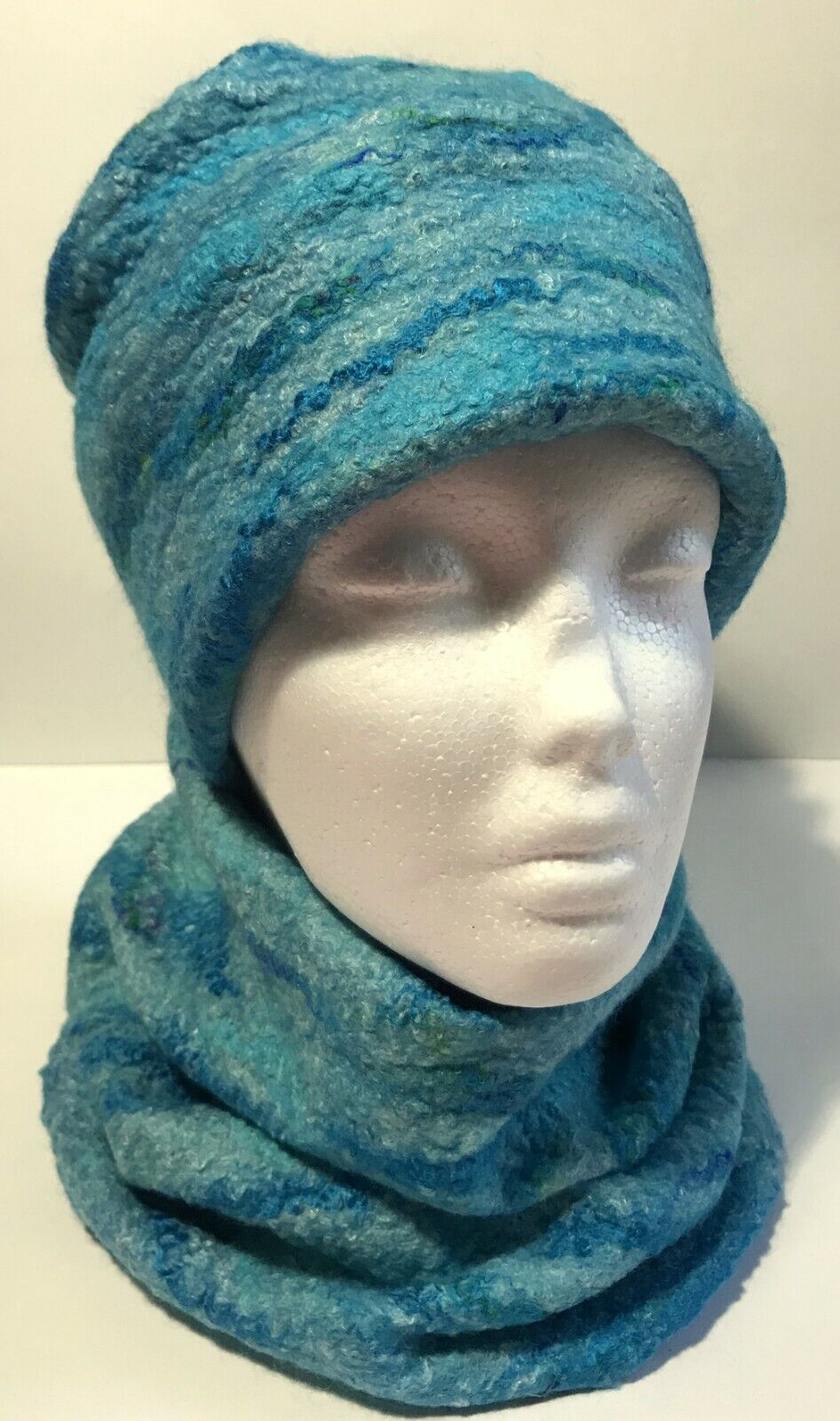 Hand Felted Hat and Neck Cowl, Matching Set, Ocean Blues, Size XS, 54cm Merino