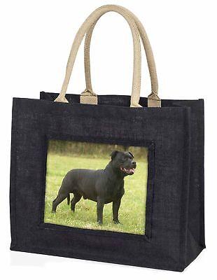 schwarz Staffordshire Bull Terrier große Einkaufstasche Weihnachten, ad-sbt1blb