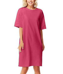 Womens-Sleepwear-T-shirt-Sleepshirt-Beach-Cover-Tee-Night-Gown-Cotton-Colors-Top