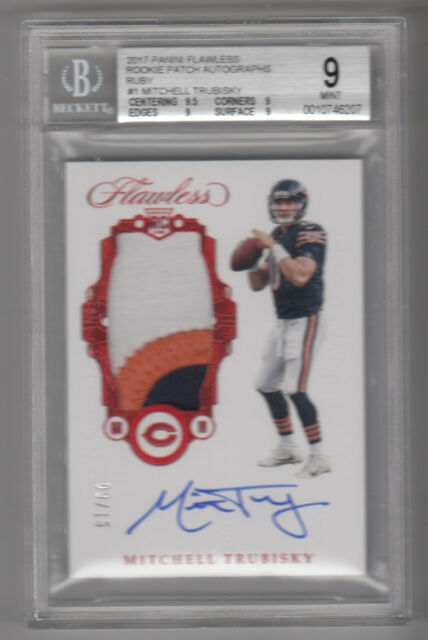 bd483683f 2017 Panini Flawless Rc Patch MITCHELL TRUBISKY rookie AUTOGRAPH card 9 15  BGS