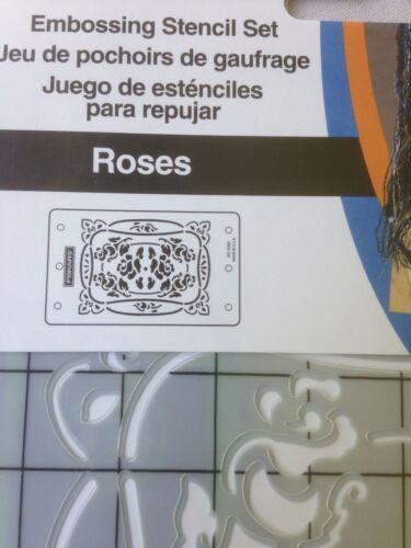 Fiskars Embossing Mini 4 x 6 ShapeBoss Stencil Set-Roses 5840-NEW