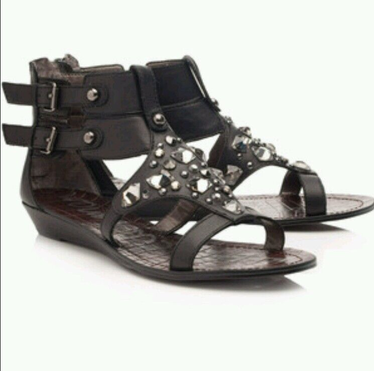 NEW SAM EDELMAN DARIA  GLADIATOR 148 schwarz BEJEWELED GLADIATOR  MINI WEDGE SANDALS 38.5 7.5 012147