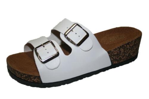 WOMENS FASHION OPEN TOE 2 BUCKLE SLIP ON CORK SANDALS 6 7 8 9 10 11 BLACK WHITE