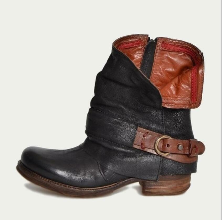 Retro Womens Buckle Mid Mid Mid Calf Biker Slouch Ankle Boots Low Chunky Heel shoes New 93853f