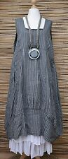 LAGENLOOK LINEN OVERSIZED STRIPED 2 POCKETS DRESS**CHARCOAL/GREY**SIZE XL-XXL