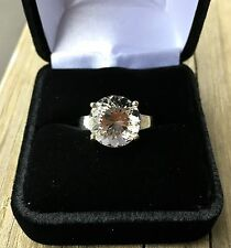 Genuine 3.5 Ct Herkimer Diamond set in a Solid 925 Sterling Silver Ring (Size 7)