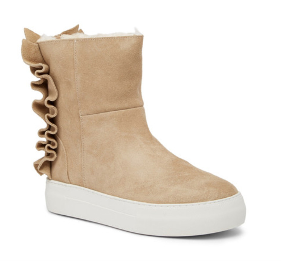 J/Slides Ruffled Sand Suede Women's Boots Sz 9.5 M 4800