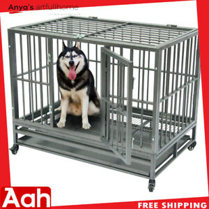 42-034-Heavy-Duty-Dog-Cage-Crate-Kennel-Metal-Pet-Playpen-Portable-with-Tray-Sliver