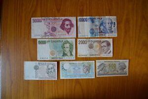 LOTTO-7-BANCONOTE-LIRE-50000-BERNINI-10000-VOLTA-5000-BELLINI-2000-MARCONI-1000