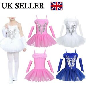 UK-Girls-Sequined-Swan-Ballet-Dance-Dress-Kids-Leotard-Tutus-Performing-Costumes