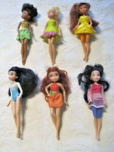 Disney-Fairies-Lot-6-Dressed-Tinkerbell-amp-Friends-5-034-Dolls