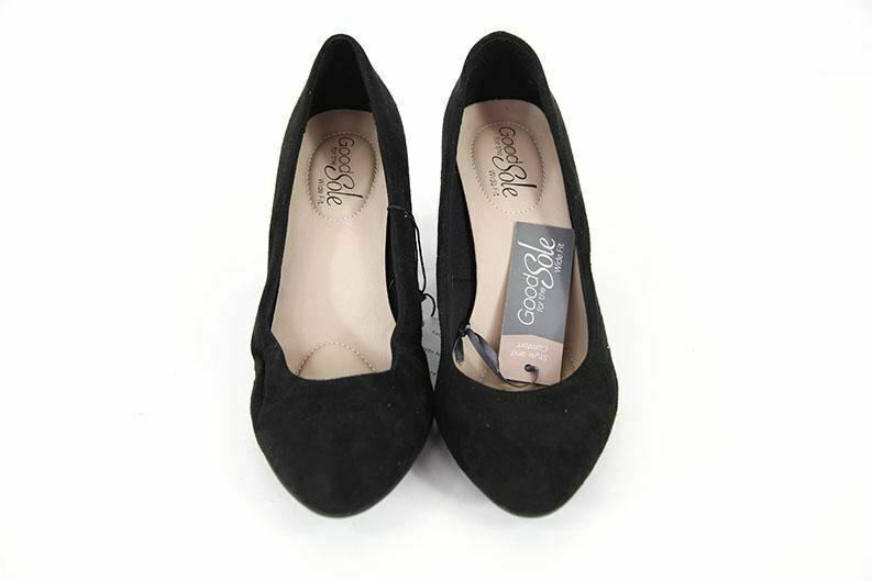 Good For The Sole black suede womens shoes block heeled UK4 RRP30 new