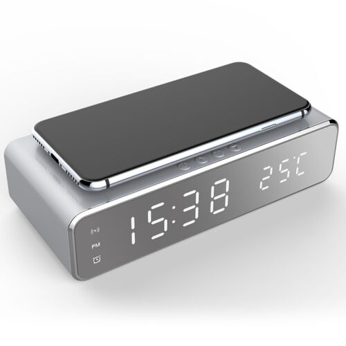 3 IN 1 Wireless Phone Charger Charging Station LED Electric Alarm Clock Thermome