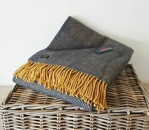 Details About Herringbone Throw 100 Pure New Wool Navy Blue Mustard Bedroom Living Room