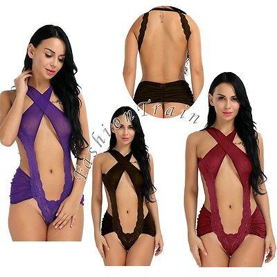 Sexy Women's Lace Lingerie Mesh Underwear Sleepwear Babydoll Chemise Nightwear