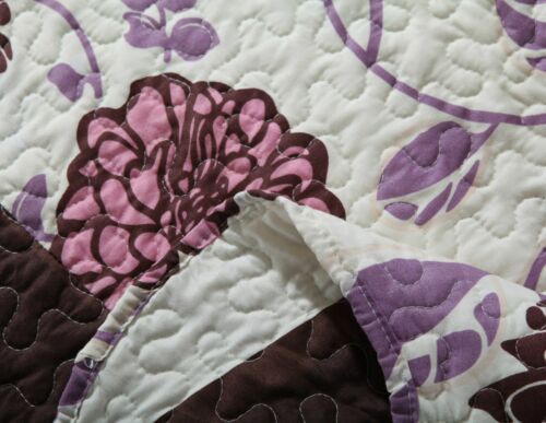 DaDa Bedding Reversible Bohemian Pink Purple Brown Floral Coverlet Bedspread Set