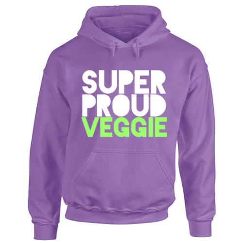 Adult Super Proud Veggie Hoodie Mens Ladies Hooded Vegan Diet Animal Lover