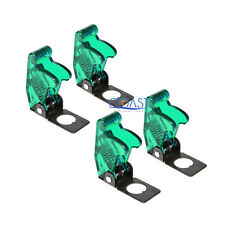 4x Car Marine Industrial Spring Loaded Toggle Switch Safety Cover Clear Green