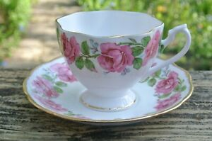 Queen-Anne-Bone-China-Cup-and-Saucer-with-Pink-Roses-Made-in-England