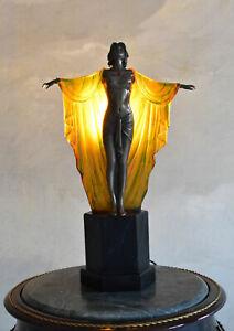 Luce Da Tavolo Art Deco Scultura Femme Fatale Luce Lampada Da Comodino Nuovo Ebay