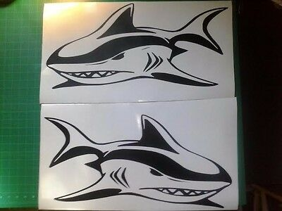 """Shark boat Decals 2 large 23/"""" mirror img great white fish graphics sticker v2"""