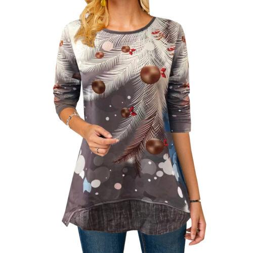 Womens Christmas 3D Snowman Tops Pullover Xmas Long Sleeve Lady Blouse T Shirt