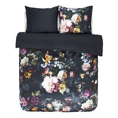 Bettwäschegarnituren FleißIg Essenza Bettwäsche Set Fleur Nightblue Blau Blumen Blüten Rosen Pflanzen Satin Reine WeißE